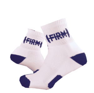 Personalized White High-ankle Socks with Navy Blue contract colors