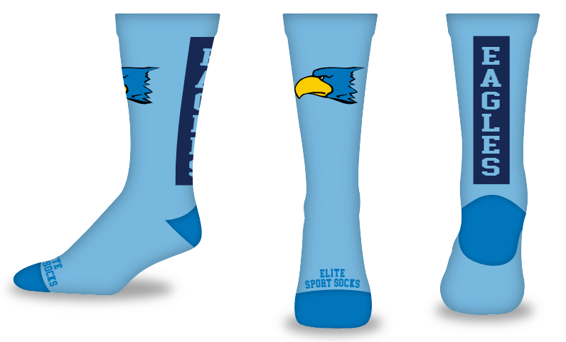 Custom Logo & Text - Crew - Wide Stripe Style Socks