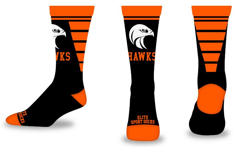 Custom Logo & Text - Crew - V-Cut Style Socks